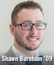 Headshot of man in suit with text Shawn Burnham '09
