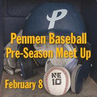 Penmen Baseball Pre-Season Meet Up | February 8 | Baseball helmet and ball on bench