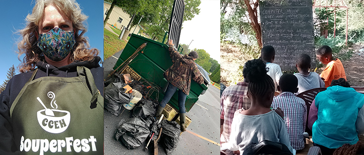 Collage of images: woman wearing mask and apron; person throwing garbage bags in a dumpster; students face chalkboard in outdoor classroom