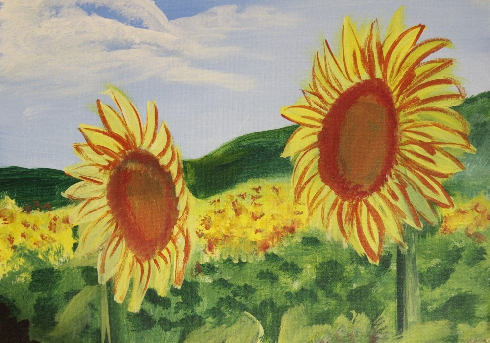 Painting of sunflowers in a field on a sunny day