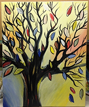 Painting of tree with colorful fall leaves