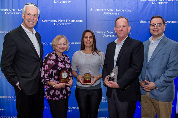 (L to R) President Paul LeBlanc, Karin Caruso '82 (2013 Distinguished Service Award); Angela Palladino '11 (2013 Young Alumni Award); Bob DeColfmacker '78 (2013 Alumni Hall of Fame Award); and Alumni Board President Jeff Penta '05, '08, '11