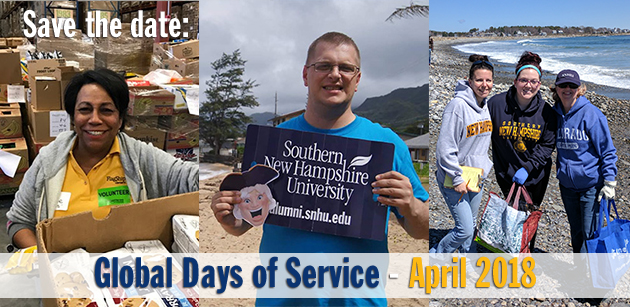 Save the date for SNHU Global Days of Service: April 2018