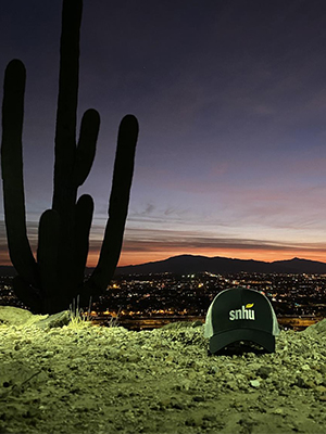 SNHU hat next to cactus during sunset in Tucson