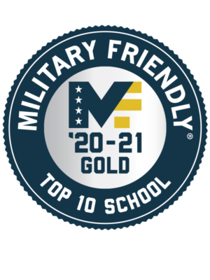 Logo with the words Military Friendly Top 10 School '20-21 Gold