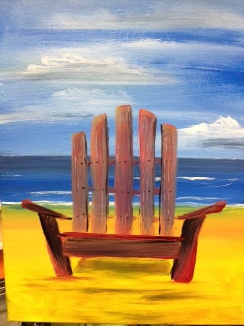 Painting of a beach chair on a beach